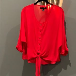 Tie Front Red Blouse